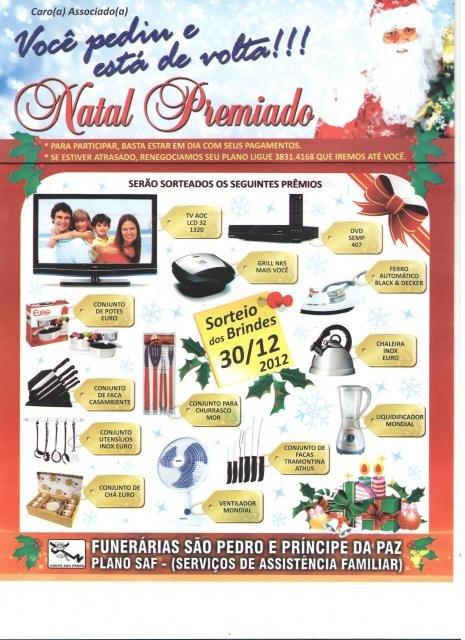 FUNERÁRIA SÃO PEDRO A REALIZARÁ SORTEIO DIA 30/12/2012